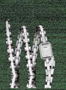 Chanel White Triple Row Ceramic Steel Diamonds Premiere Watch 15.2mm