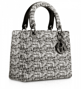 Dior Black and White Embroidered Lady Dior Bag
