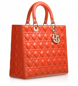 Dior Orange Lady Dior Large Bag