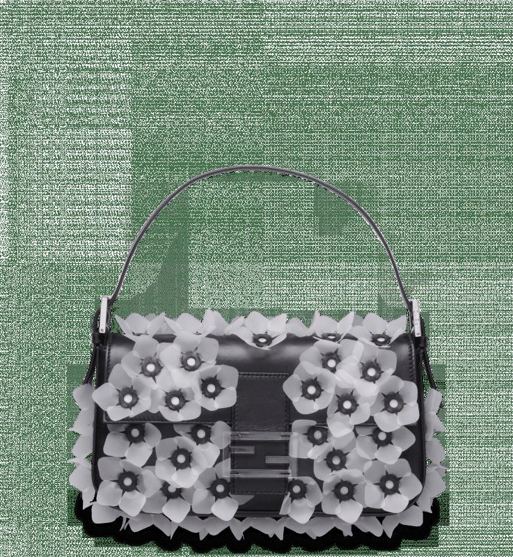 Fendi Black/White Jelly-Flower Applique Baguette Bag
