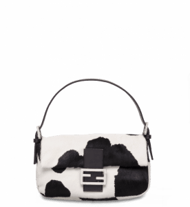 Fendi Black/White Pony-Skin Cow-Printed Baguette Bag