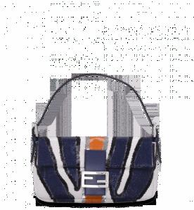 Fendi Blue Sequined Zebra-Stripe Baguette Bag