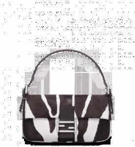 Fendi Brown/White Zebra Printed Baguette Bag