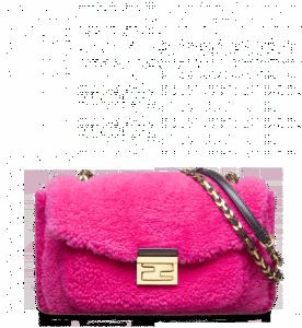 Fendi Fuchsia Shearling Be Baguette Bag
