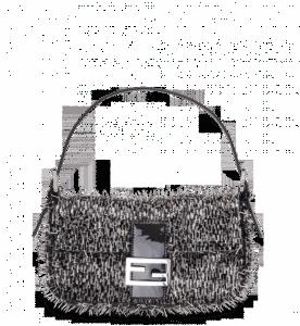 Fendi Gray/Black Beaded Spikes Baguette Bag