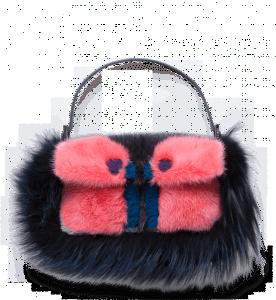 Fendi Multicolor Fur Little Monster Baguette Bag