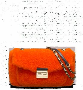Fendi Orange Shearling Be Baguette Bag