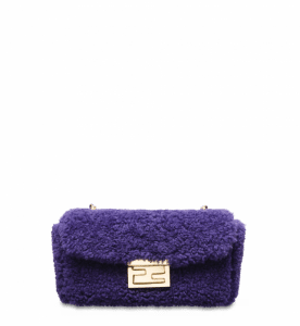 Fendi Purple Shearling Be Baguette Mini Bag