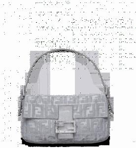 Fendi Silver Shimmer Zucca Baguette Bag