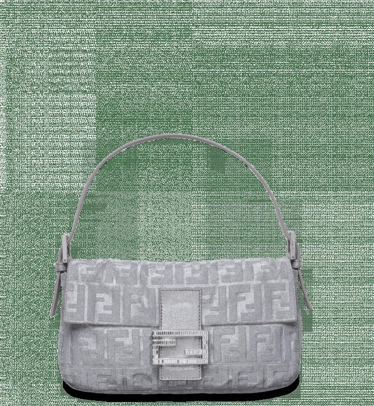 ba1c2994f5 Fendi Silver Shimmer Zucca Baguette Bag