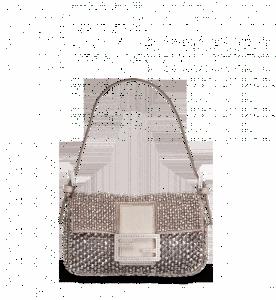 Fendi Silver/Palladium Beaded Baguette Bag