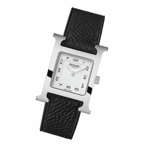 Hermes Black Leather Strap H Hour PM Watch