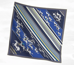 Hermes Blue Les Courses Silk Twill Scarf 90