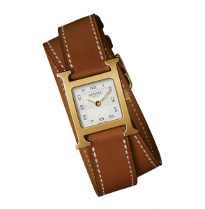 Hermes Gold Plated Barenia Double Tour H Hour PM Watch