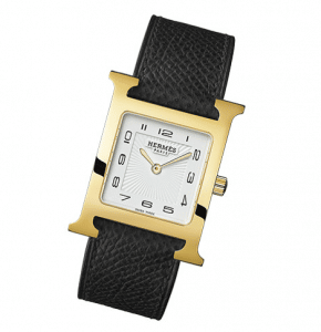 Hermes Gold Plated Black Leather Strap H Hour MM Watch