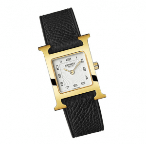 Hermes Gold Plated Black Leather Strap H Hour PM Watch