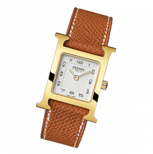 Hermes Gold Plated Gold Leather Strap H Hour PM Watch