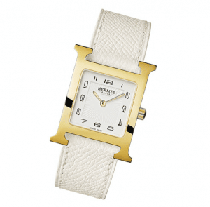 Hermes Gold Plated White Leather Strap H Hour MM Watch
