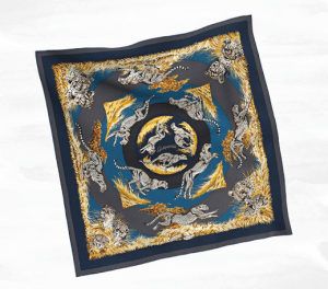 Hermes Guepards Silk Twill Scarf 90