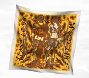 Hermes Monsieur et Madame II Silk Twill Scarf 90