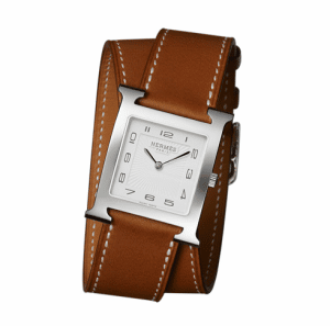 Hermes Natural Barenia Double Tour H Hour MM Watch