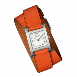 Hermes Orange Double Tour H Hour PM Watch