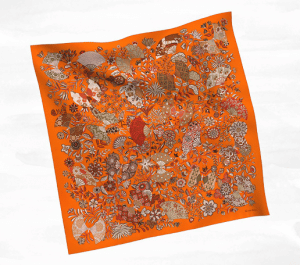 Hermes Orange Fleurs et Papillons de Tissus Silk Twill Scarf 90