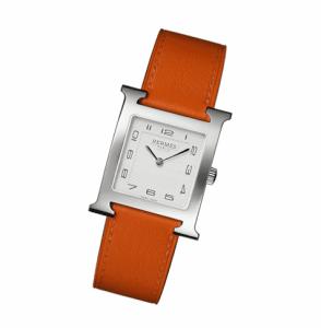 Hermes Orange Leather Strap H Hour MM Watch