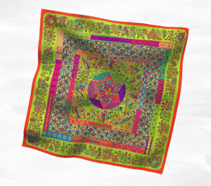 Hermes Pique Fleuri de Provence Silk Twill Scarf 90