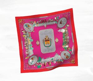 Hermes Rouge Promenades de Paris Vintage Silk Scarf 70