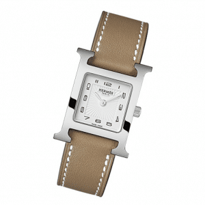 Hermes Taupe Leather Strap H Hour PM Watch