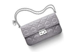 Miss Dior Promenade Pouch Bag in Patent Taupe Grey