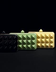Valentino Black/Green/Yellow Plexiglass Rockstud Minaudiere Bag