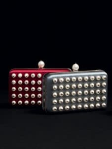 Valentino Scarlet/Grey Pearl Minaudiere Bag