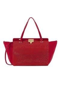 Valentino Rouge Crystal Rockstud Tote Bag