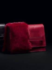 Valentino Scarlet Mink and Lizard Clutch Bag