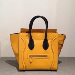 Celine Yellow with Black Handles Mini Luggage bag