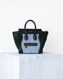Celine Baby Blue Tricolor Mini Luggage Bag - Spring 2014