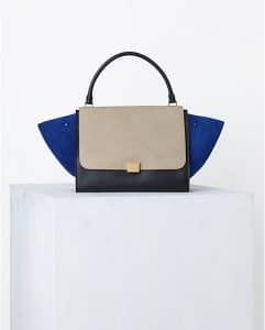 Celine Tricolor Suede Blue Trapeze Bag - Spring 2014