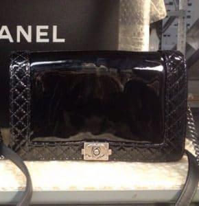 Chanel Black Patent Boy Chanel Reverso Jumbo Bag