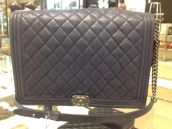 b391f0cb8281 ... Chanel Dark Blue Boy Flap Large Bag