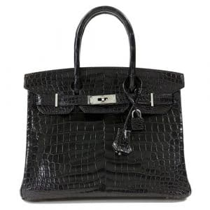 Hermes Black Niloticus Crocodile Birkin 30cm Bag