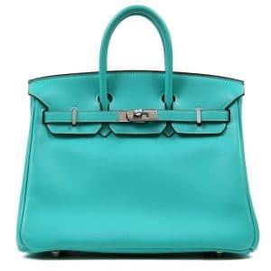 Hermes Blue Lagoon Swift Birkin 25cm Bag