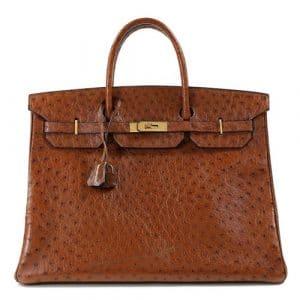 Hermes Brown Ostrich Birkin 40cm Bag