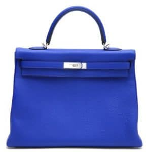 Hermes Electric Blue Kelly 35cm Bag