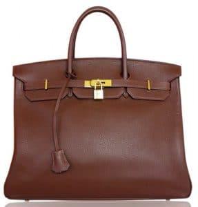 Hermes Havane Taurillon Clemence Birkin 40cm Bag