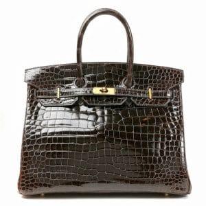 Hermes Marron Fonce Porosus Crocodile Birkin 35cm Bag