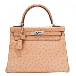 Hermes Natural Gold Ostrich Kelly 28cm Bag
