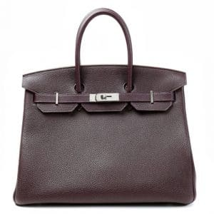 Hermes Raisin Togo Birkin 35cm Bag