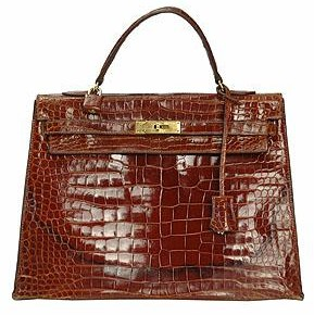 Hermes Rust Crocodile Kelly 32cm Bag